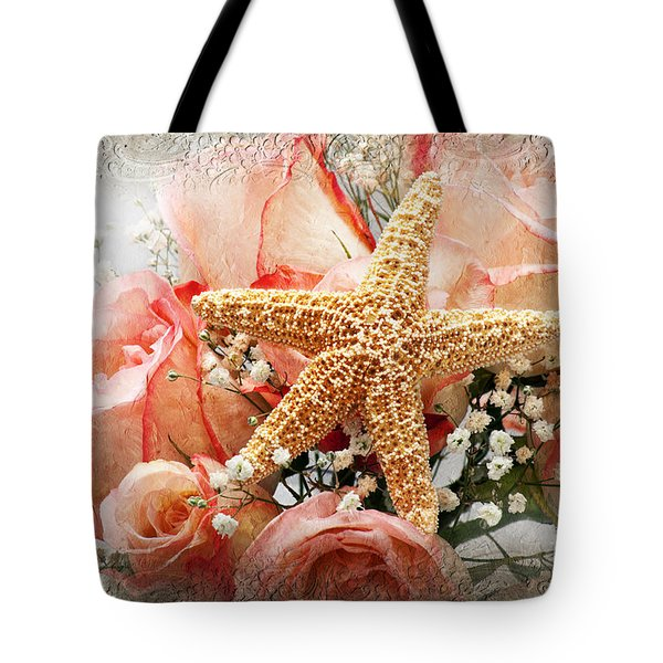 Starfish And Pink Roses Tote Bag by Andee Design