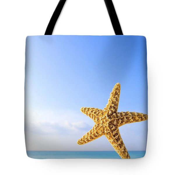 Starfish In Front Of The Ocean Tote Bag