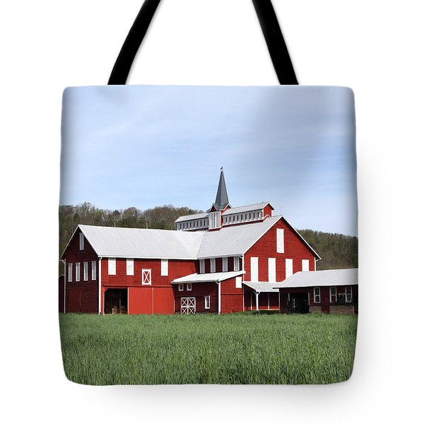 Stately Red Barn With Elongated Clerestory Cupola Tote Bag by John Stephens