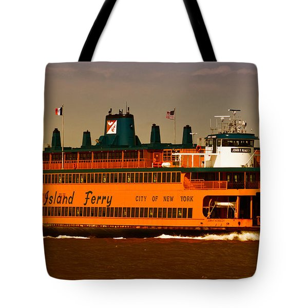 Tote Bag featuring the photograph Staten Island Ferry by Nancy De Flon
