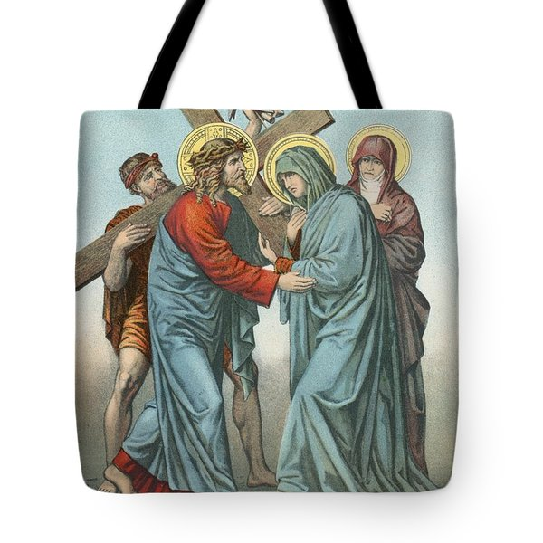 Station Iv Jesus Carrying The Cross Meets His Most Afflicted Mother Tote Bag by English School