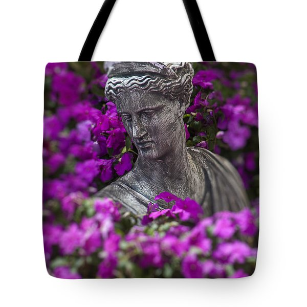 Statue In The Garden Tote Bag by Garry Gay