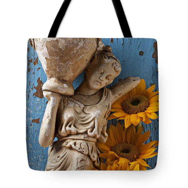 Statue Of Woman With Sunflowers Tote Bag by Garry Gay