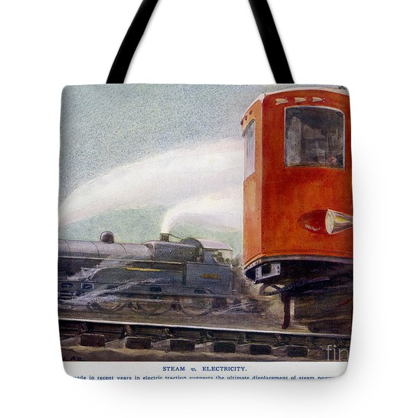 Steam Trains Versus Electric Tote Bag by Mary Evans and Photo Researchers