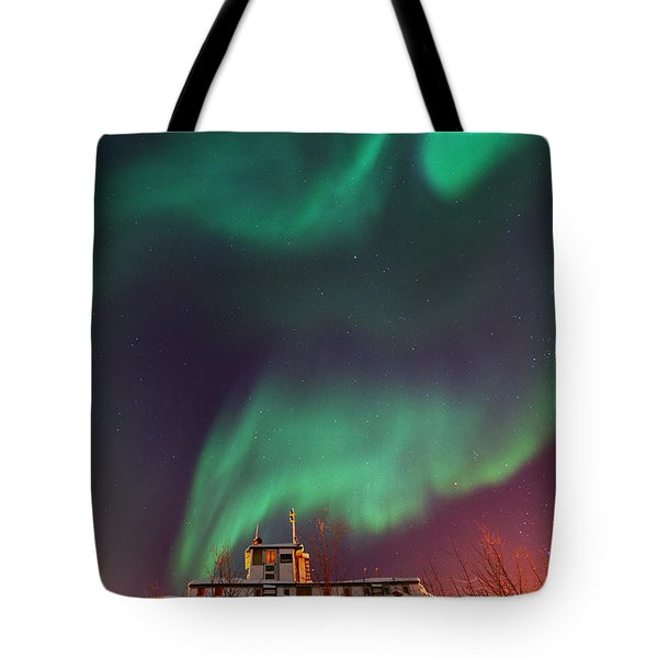 Steamboat Under Northern Lights Tote Bag by Priska Wettstein