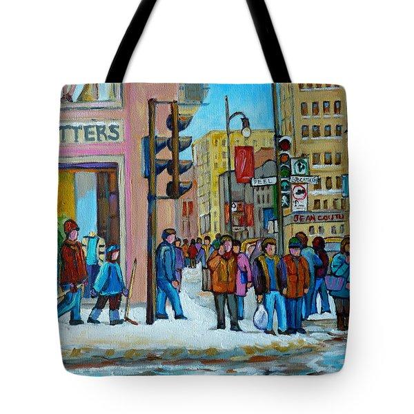 Ste.catherine And Peel Streets Tote Bag by Carole Spandau