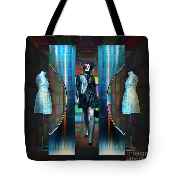 Tote Bag featuring the digital art Steel Eyes Mannequin by Rosa Cobos