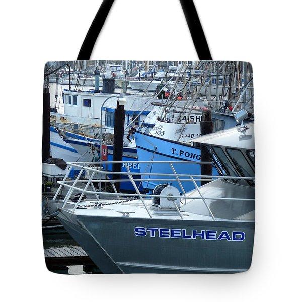 Steelhead And Fishing Boats Tote Bag by Jeff Lowe