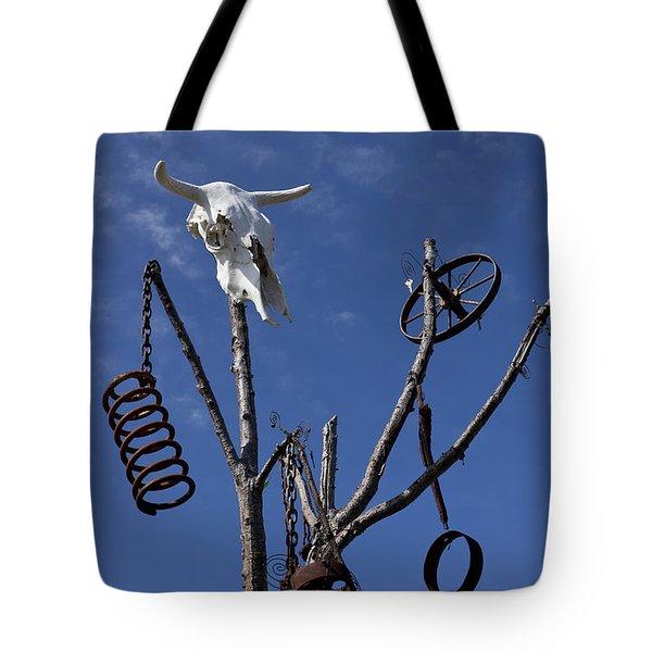 Steer Skull In Tree Tote Bag by Garry Gay