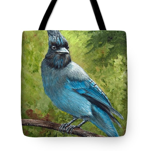 Stellar Jay Tote Bag by Dee Carpenter