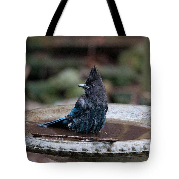 Tote Bag featuring the digital art Steller Jay In The Birdbath by Carol Ailles