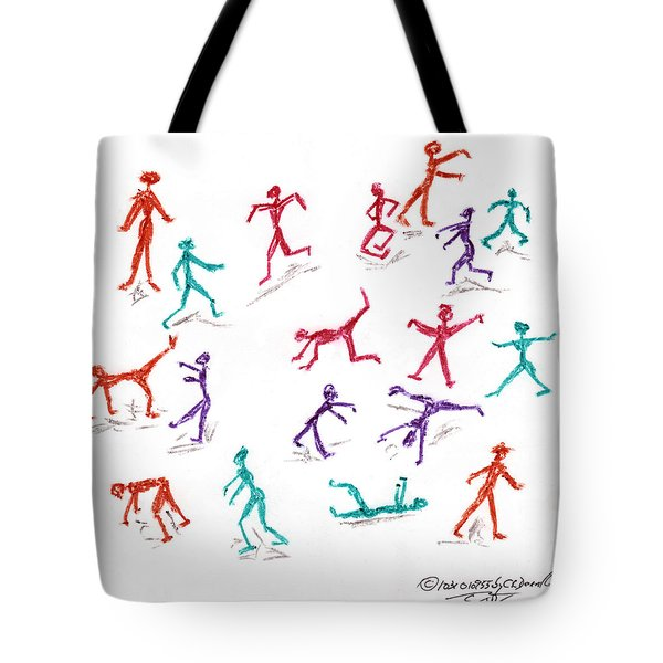 Stickmen October Two Thousand One Tote Bag by Carl Deaville