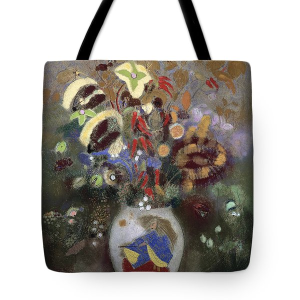 Still Life Of A Vase Of Flowers Tote Bag by Odilon Redon