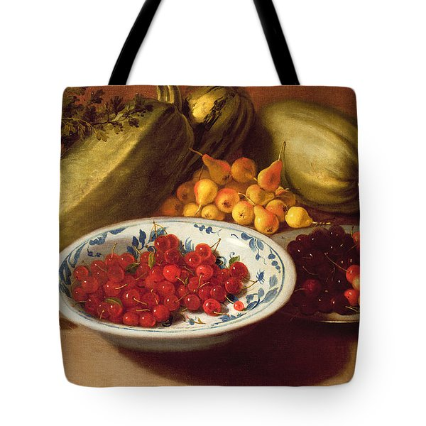Still Life Of Cherries - Marrows And Pears Tote Bag by Italian School