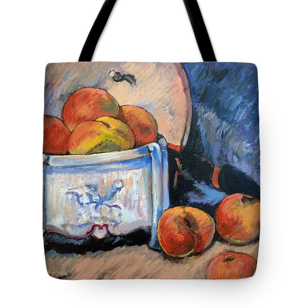 Tote Bag featuring the painting Still Life Peaches by Tom Roderick