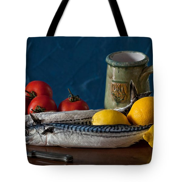 Still Life With Mackerels Lemons And Tomatoes Tote Bag by Juan Carlos Ferro Duque