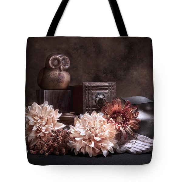Still Life With Owl And Cherub Tote Bag