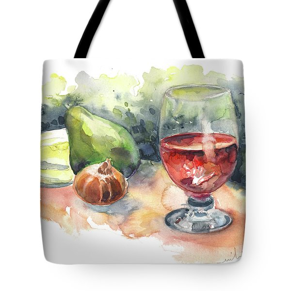 Still Life With Red Wine Glass Tote Bag by Miki De Goodaboom
