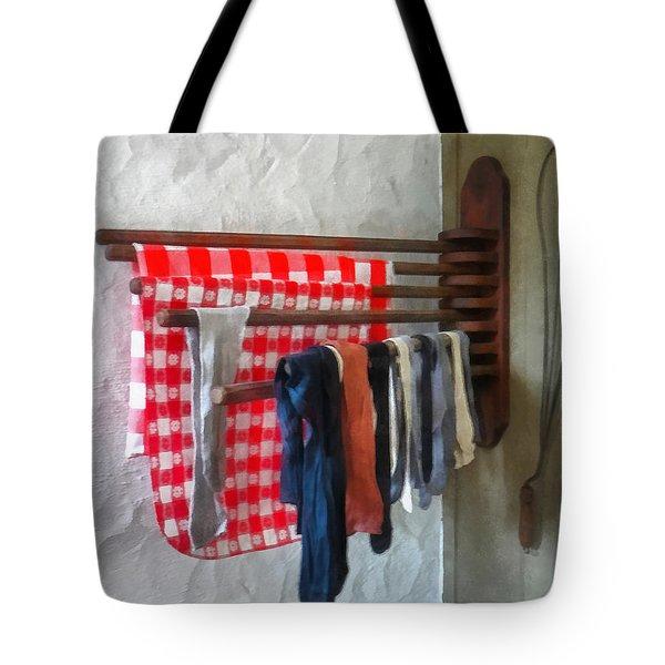 Stockings Hanging To Dry Tote Bag by Susan Savad