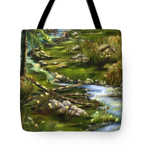Tote Bag featuring the painting Stone Creek by Carol Sweetwood