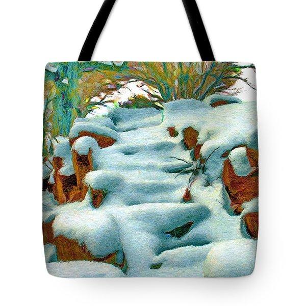 Stone Steps In Winter Tote Bag by Jeff Kolker