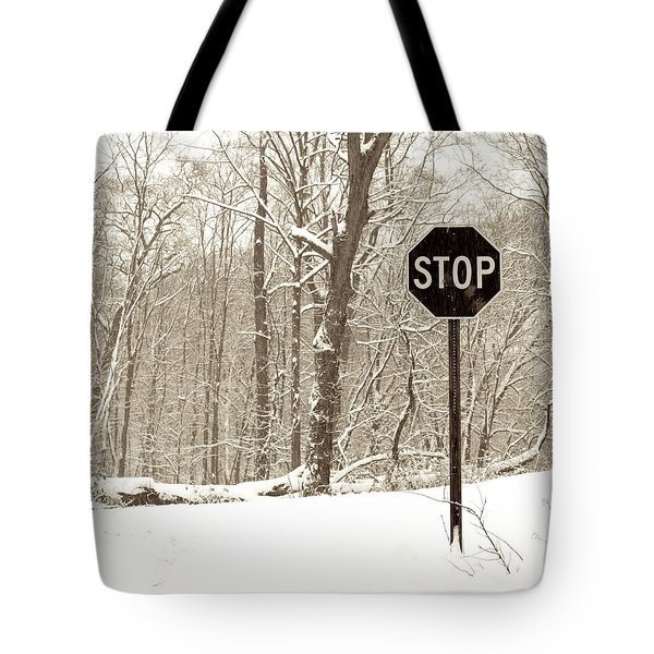 Stop Snowing Tote Bag by John Stephens