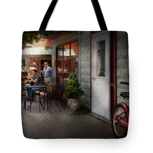 Storefront - Frenchtown Nj - At A Quaint Bistro  Tote Bag by Mike Savad