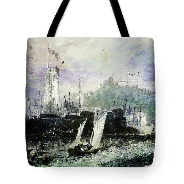 Storm At Scarborough Tote Bag by Lianne Schneider