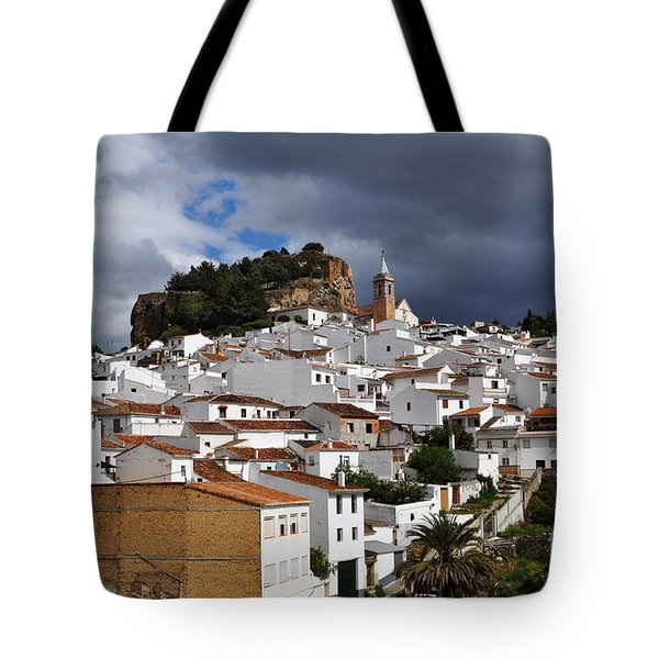 Storm Clouds Over Ardales Spain Tote Bag by Mary Machare