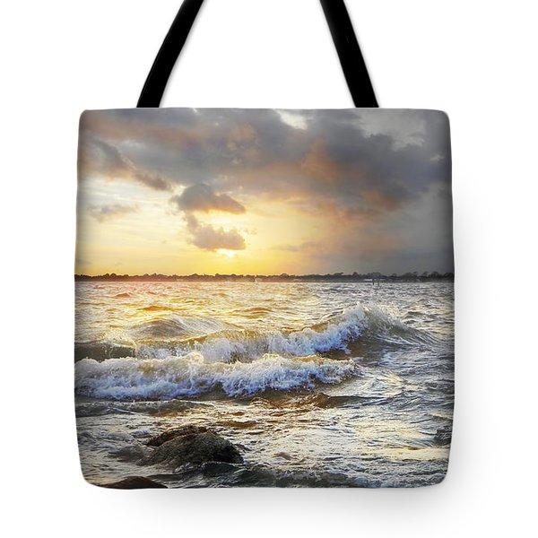 Storm Waves Tote Bag by Francesa Miller
