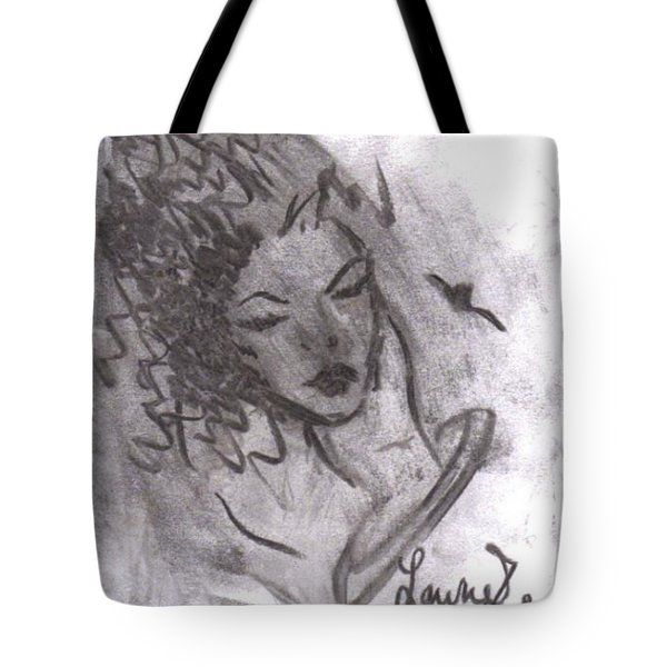 Tote Bag featuring the drawing Story Of My Heart by Laurie Lundquist