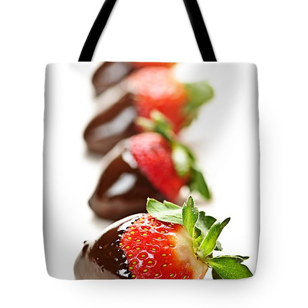 Strawberries Dipped In Chocolate Tote Bag by Elena Elisseeva