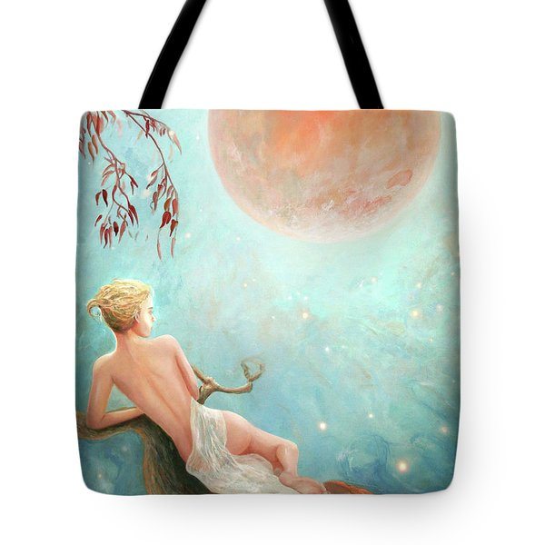Strawberry Moon Nymph Tote Bag by Michael Rock