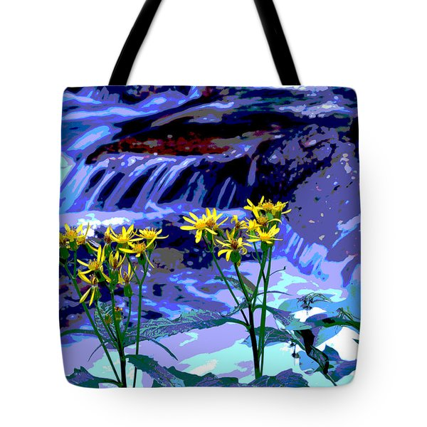 Stream And Flowers Tote Bag