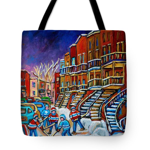 Street Hockey Game In Winter Tote Bag by Carole Spandau