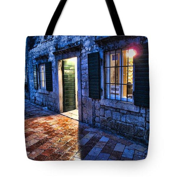Street Scene In Ancient Kotor Montenegro Tote Bag by David Smith