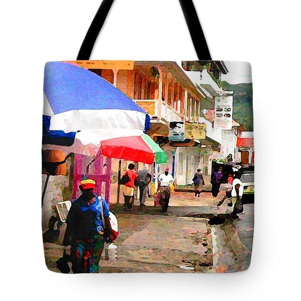 Street Scene In Rosea Dominica Filtered Tote Bag