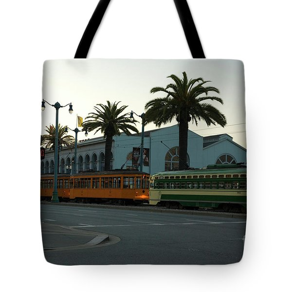Streetcars At Sunset Tote Bag by Tim Mulina