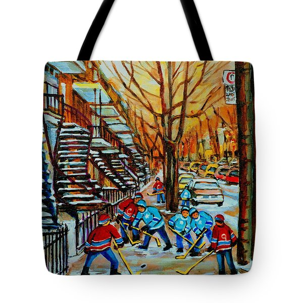 Streets Of Verdun Hockey Art Montreal City Scenes With Winding Staircases And Row Houses Tote Bag by Carole Spandau