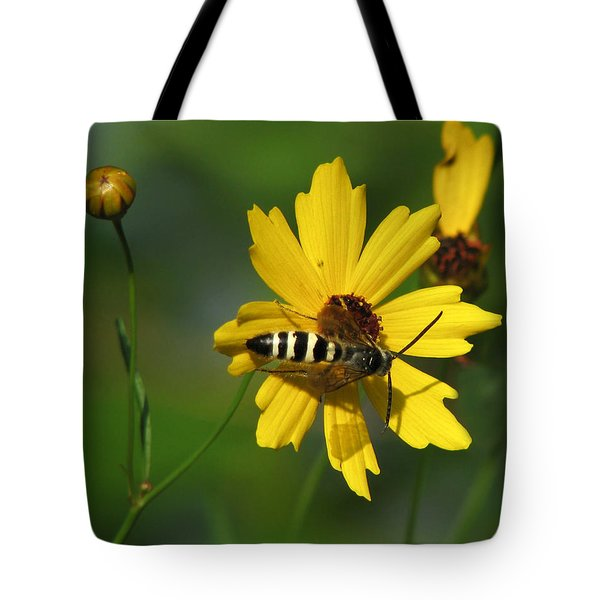 Striped Bee On Wildflower Tote Bag