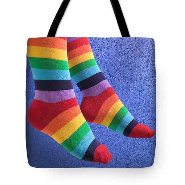 Striped Socks Tote Bag by Garry Gay