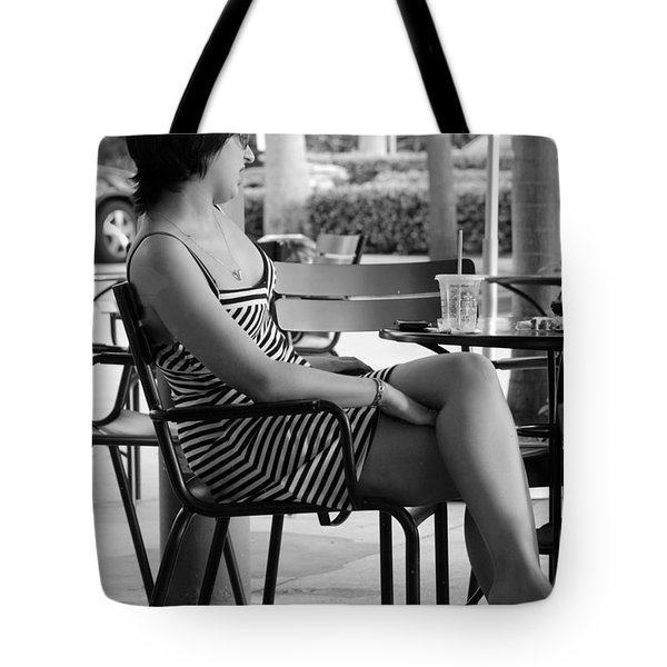 Stripped Dress Lady Tote Bag by Rob Hans