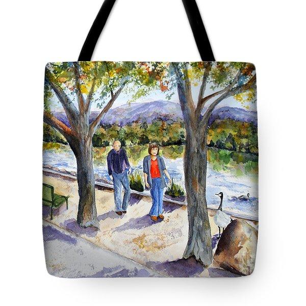 Strolling Virginia Lake Tote Bag by Vicki  Housel