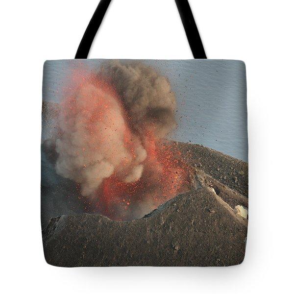 Strombolian Eruption Of Stromboli Tote Bag by Richard Roscoe