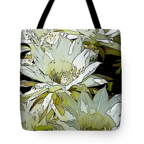 Stylized Cactus Flowers Tote Bag by Phyllis Denton