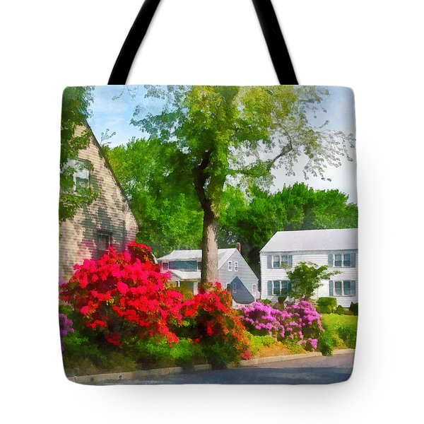 Suburban Azalea Garden Tote Bag by Susan Savad