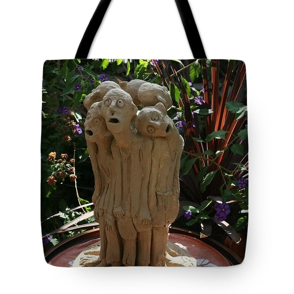 Suffering Circle Ceramic Sculpture Brown Clay  Tote Bag by Rachel Hershkovitz