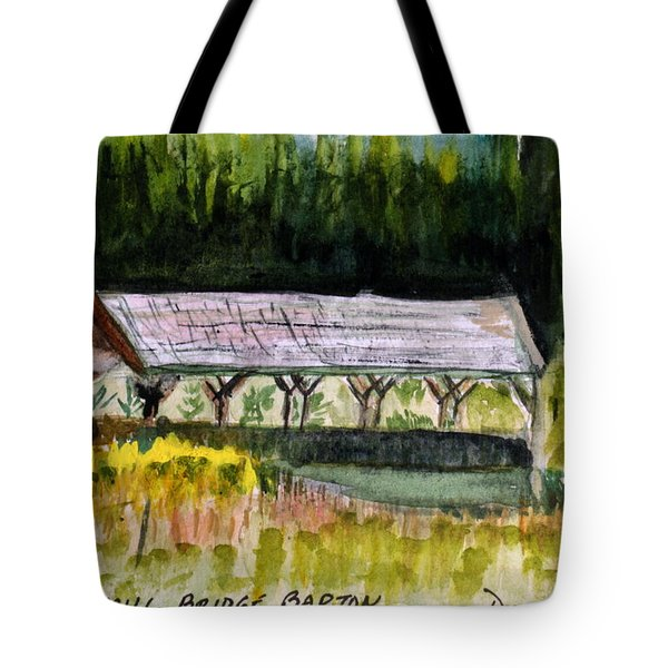 Sugar Mill Covered Bridge In Barton Vt Tote Bag by Donna Walsh