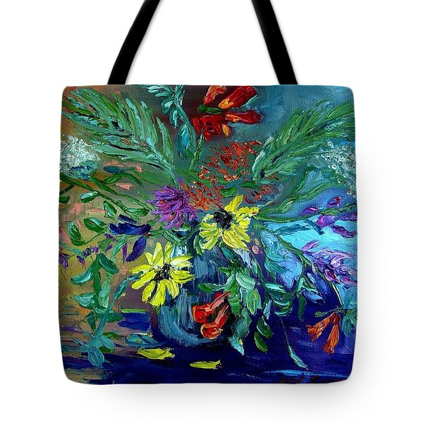 Tote Bag featuring the painting Summer Bouquet by Carol Berning