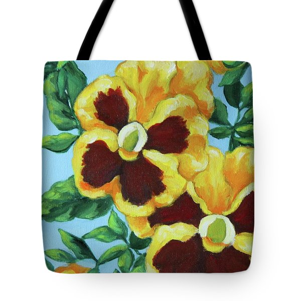 Tote Bag featuring the painting Summer Pancies by Inese Poga